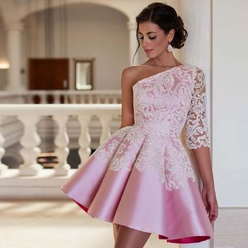 Pink One Shoulder Long Sleeves A-line 2018 Homecoming Dress
