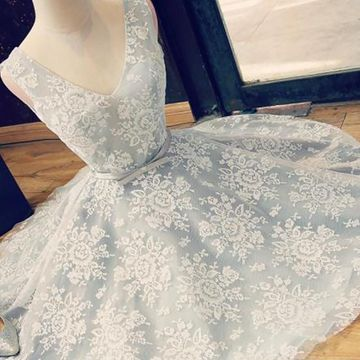 Grey V-neck Sleeveless A-line 2018 Lace Homecoming Dress