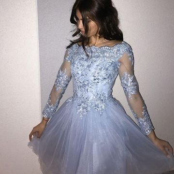 Long Sleeves Off the Shoulder 2019 A-line Homecoming Dress Lace