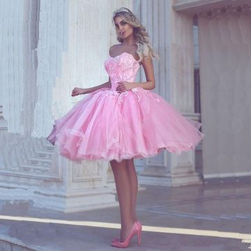 Pink Sweetheart Beading A-line 2018 Homecoming Dress