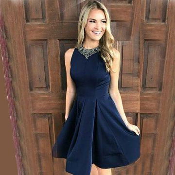 Dark Blue Round Neck Sleeveless A-line 2018 Homecoming Dress