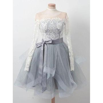 Grey Long Sleeves A-line Tiers 2018 Homecoming Dress Lace