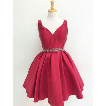 Red V-neck Straps Beading A-line 2018 Homecoming Dress