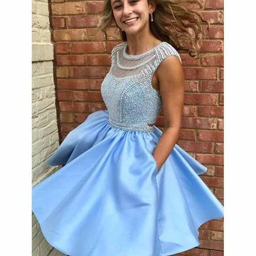 Blue Round Neck Beading A-line 2018 Homecoming Dress Open Back