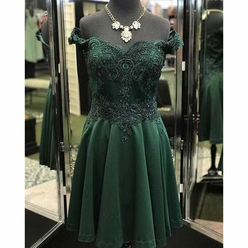Green Off the Shoulder Lace A-line 2018 Homecoming Dress
