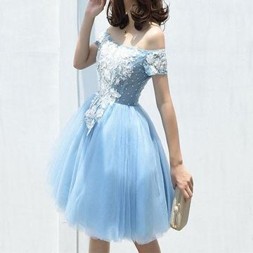 Light Blue Off the Shoulder A-line Lace 2018 Homecoming Dress