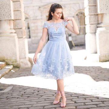 Blue Capped Sleeves Off the Shoulder A-line 2018 Homecoming Dress Lace