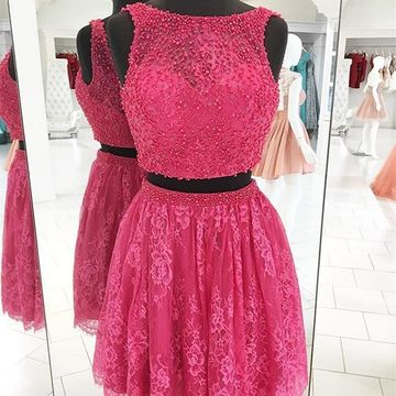 Pink Sleeveless Beading A-line 2018 Homecoming Dress Lace Two Piece
