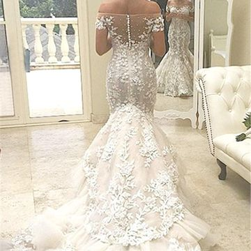 Off the Shoulder Long Wedding Dresses 2018 Mermaid Sexy Lace