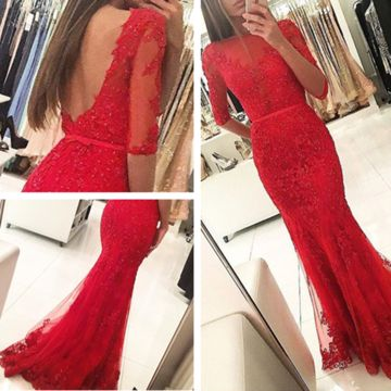 Long Red Mermaid Half Sleeves Backless Appliques Prom Dresses 2019 Open Back