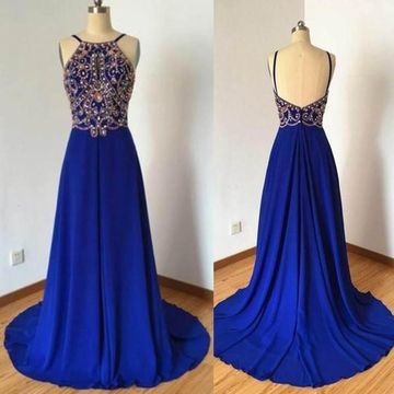 Long A-line Spaghetti Straps Sleeveless Zipper Beading Prom Dresses 2019 Open Back