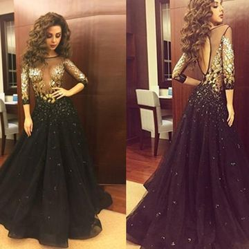 Long A-line 3/4 Length Sleeves Backless Beading Prom Dresses 2019 Open Back Sexy