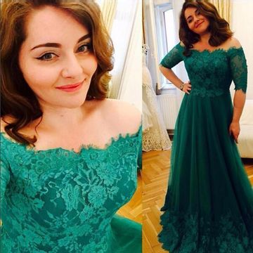 Long Plus Size A-line Off-the-Shoulder Half Sleeves Lace Prom Dresses 2019