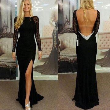 Sexy Black Sheath Long Sleeves Backless Crystal Detailing Prom Dresses 2020 Open Back Lace For Short Girls