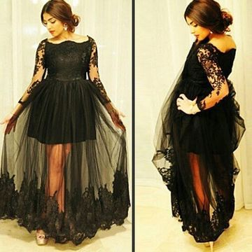 Junior Black A-line Long Sleeves Prom Dresses 2020 Lace