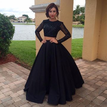 Black A-line Long Sleeves Zipper Beading Prom Dresses 2019 Two Piece