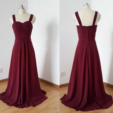 Cheap Long Junior Red A-line Straps Sleeveless Zipper Prom Dresses 2020 Chiffon