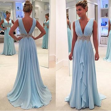 Long Junior Blue A-line V-Neck Sleeveless Backless Appliques Prom Dresses 2020 Open Back Chiffon