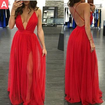 Cheap Long Junior Red A-line Spaghetti Straps Sleeveless Backless Prom Dresses 2019 Open Back Chiffon Sexy For Short Girls