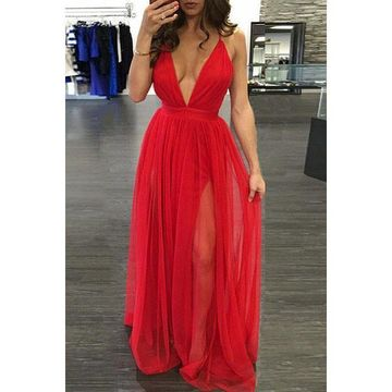 183cdfbc6ec 49%OFF Cheap Long Junior Red A-line Spaghetti Straps Sleeveless ...