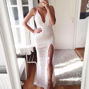 Long Sexy White Sheath Spaghetti Straps Sleeveless Prom Dresses 2019 Lace