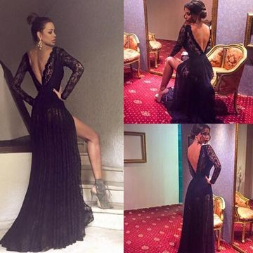 Sexy Black A-line V-Neck Long Sleeves Backless Prom Dresses 2019 Open Back Lace