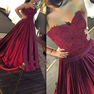 c48b870e158 Long Burgundy Ball Gown Sweetheart Sleeveless Prom Dresses 2019 Lace