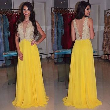 Long Yellow A-line V-Neck Sleeveless Backless Appliques Prom Dresses 2019 Open Back Chiffon