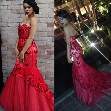 Long Red Mermaid Sweetheart Sleeveless Zipper Appliques Prom Dresses 2020 Lace