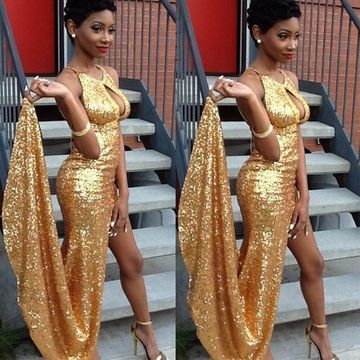 Long Sexy Gold Sheath Halter Sleeveless Zipper Sequins Prom Dresses 2019