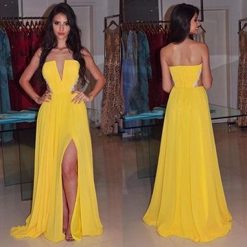 Long Sexy Yellow A-line Strapless Sleeveless Backless Appliques Prom Dresses 2019 V-Neck Open Back Chiffon