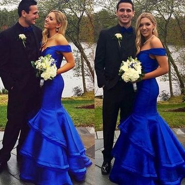 Long Blue Mermaid Backless Tiers Prom Dresses 2019 Open Back