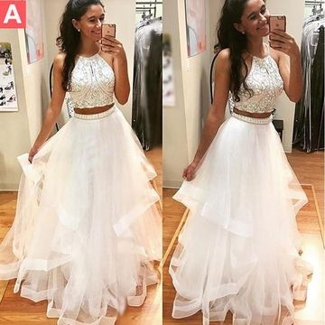 Long Junior White A-line Halter Sleeveless Beading Prom Dresses 2019 Two Piece For Short Girls