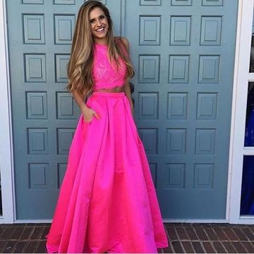 Long Junior A-line Sleeveless Prom Dresses 2020 Lace Two Piece