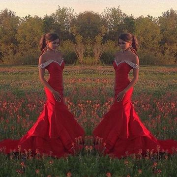 Long Sexy Red Mermaid Beading Prom Dresses 2019