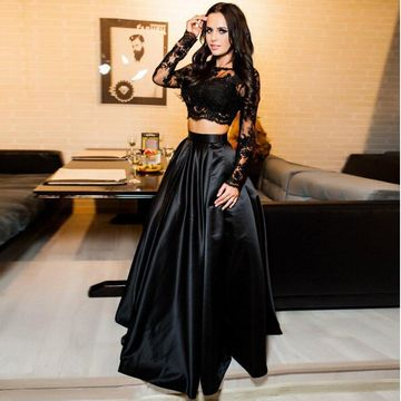 Black A-line Long Sleeves Zipper Prom Dresses Ball Gowns 2019 Lace Two Piece