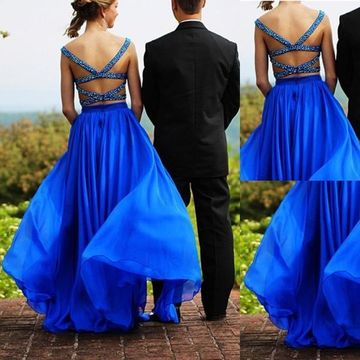 Long Sexy Blue A-line Straps Sleeveless Backless Crystal Detailing Prom Dresses 2019 Open Back Chiffon Two Piece