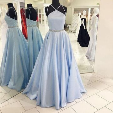 Long Elegant Blue A-line Halter Sleeveless Backless Crystal Detailing Prom Dresses 2019 Open Back Sexy Ball Gown