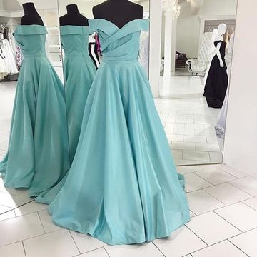 Long Elegant Blue A-line Backless Prom Dresses Ball Gowns 2019 Open Back