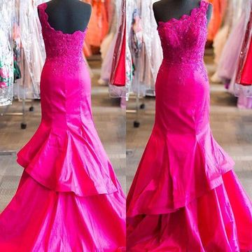 Long Junior Mermaid One Shoulder Sleeveless Zipper Appliques Prom Dresses 2019