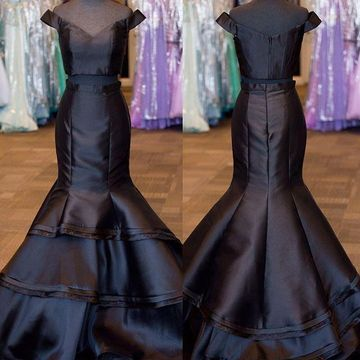 Long Black Mermaid Sleeveless Zipper Prom Dresses 2019 Two Piece