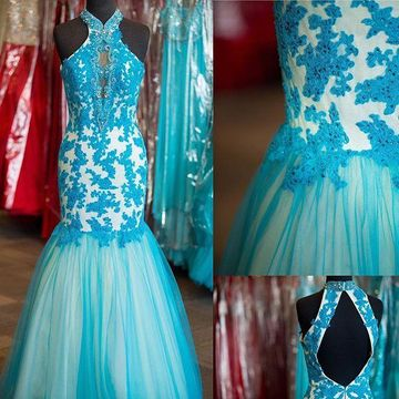 Long Junior Blue Mermaid Halter Sleeveless Backless Appliques Prom Dresses 2019 Open Back Sexy