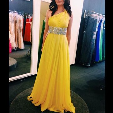 Long Yellow A-line One Shoulder Sleeveless Backless Crystal Detailing Prom Dresses 2019 Open Back Chiffon