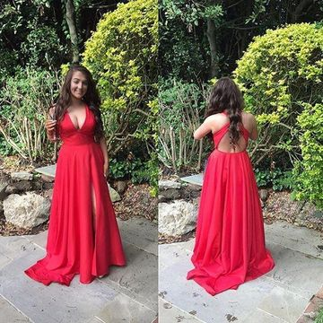 Long Sexy Red A-line V-Neck Sleeveless Backless Split Front Prom Dresses 2020 Open Back