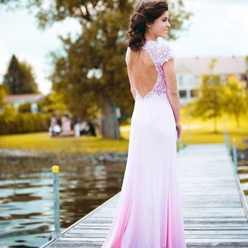 Long Sexy Sheath V-Neck Short Sleeves Backless Prom Dresses 2019 Open Back Lace
