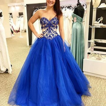 Long Junior Blue Ball Gown Sweetheart Sleeveless Backless Appliques Prom Dresses 2019 Princess Open Back
