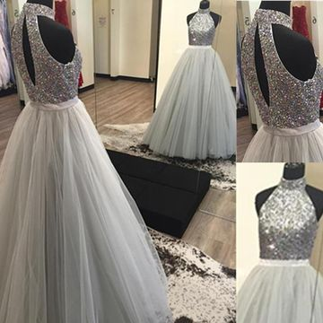 Long Elegant Grey Ball Gown High Neck Sleeveless Beading Prom Dresses 2019