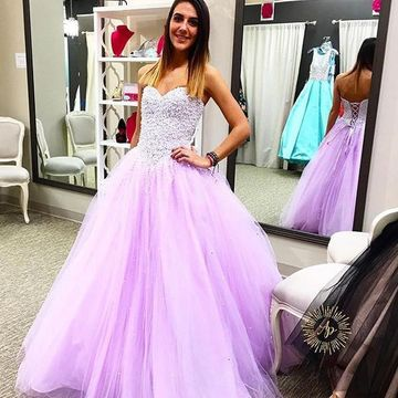 Long Junior Purple Ball Gown Sweetheart Sleeveless Corset Beading Prom Dresses 2020
