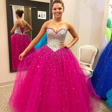 Long Cute Ball Gown Sweetheart Sleeveless Corset Beading Prom Dresses 2019 For Short Girls