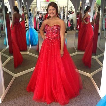 49off Long Junior Red Ball Gown Sweetheart Sleeveless Beading Prom